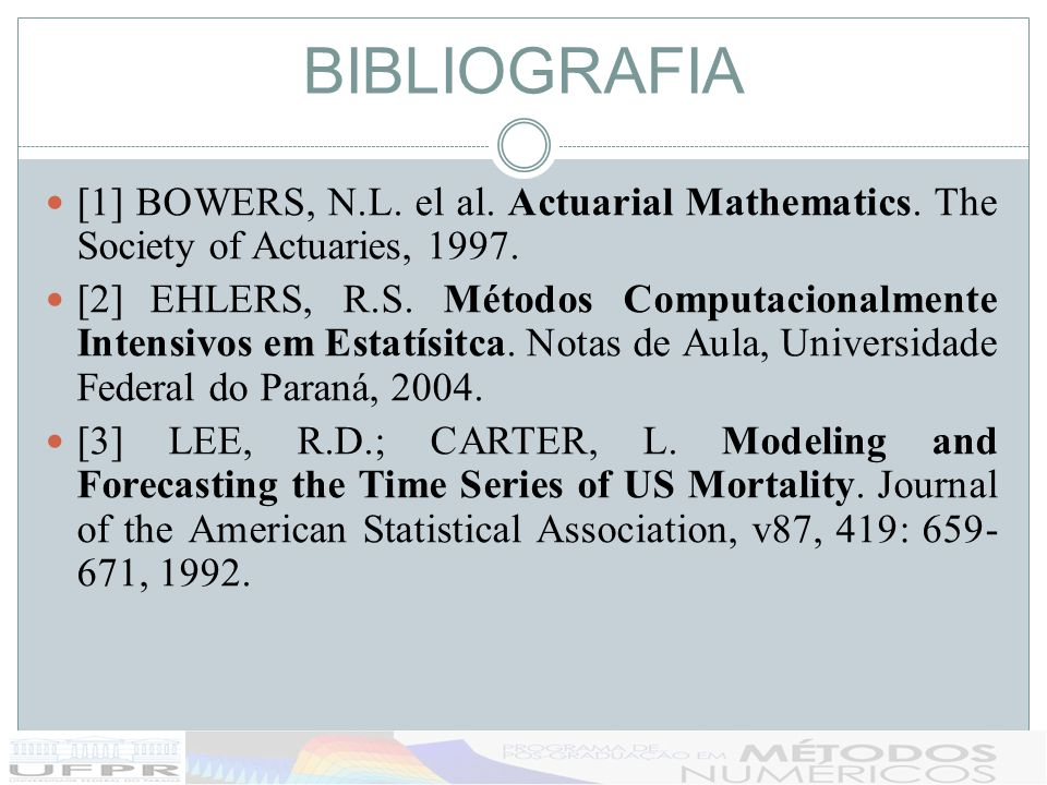BIBLIOGRAFIA [1] BOWERS, N.L. el al. Actuarial Mathematics. The Society of Actuaries, 1997.